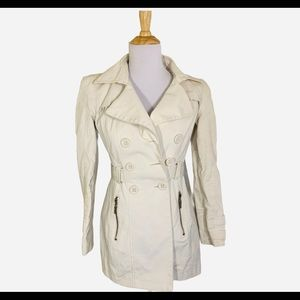 Blanc Noir cream double breasted rain coat